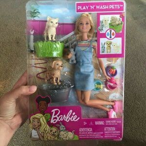 Barbie Play 'n' Wash Pets Play Set - NEW